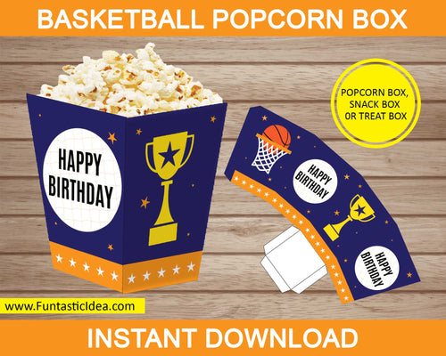 Basketball Party Popcorn Box