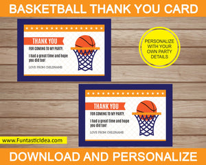Basketball Party Thank You Card