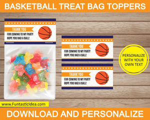 Basketball Party Treat Bag Toppers