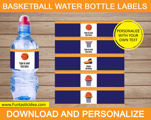 Basketball Party Water Bottle Labels