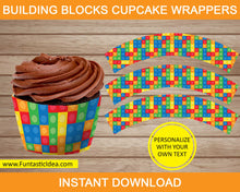 Load image into Gallery viewer, Building Blocks Party Cupcake Wrappers