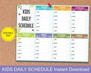 Kids Daily Schedule, Kids After School Activity Planner