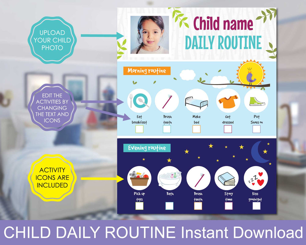 Kids Daily Responsibility Chart, Kids Morning and Evening Checklist