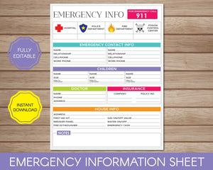 Emergency Information Sheet for Babysitter