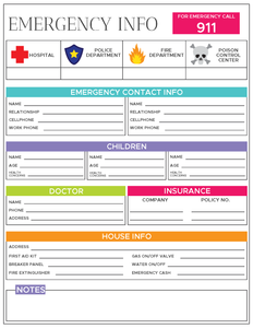 Emergency Information Sheet