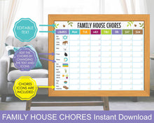 Load image into Gallery viewer, Family House Chores Chart, Family Cleaning Schedule