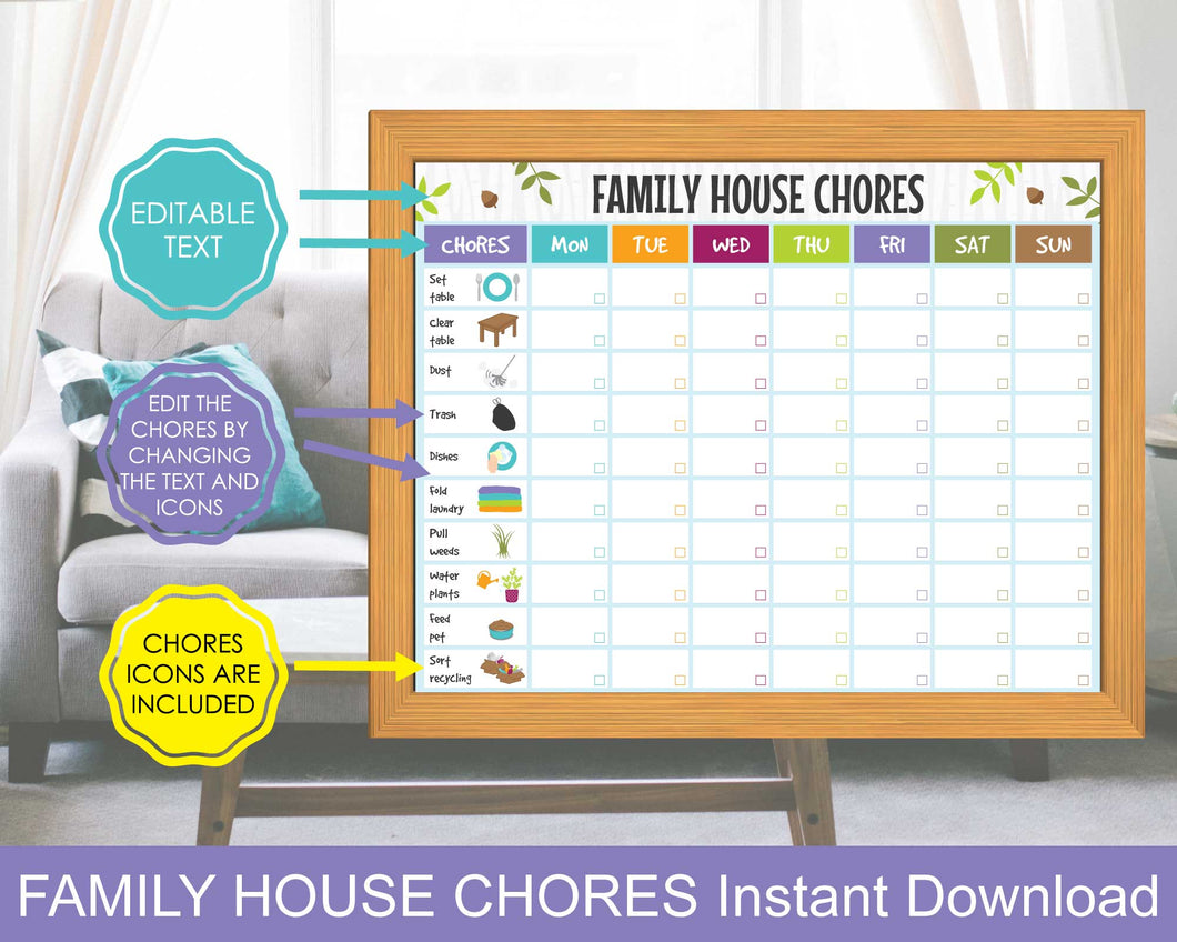Family Chore Cleaning Chart, Family Cleaning Schedule