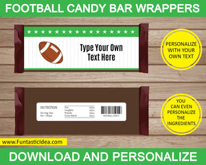 Football Party Candy Bar Wrappers