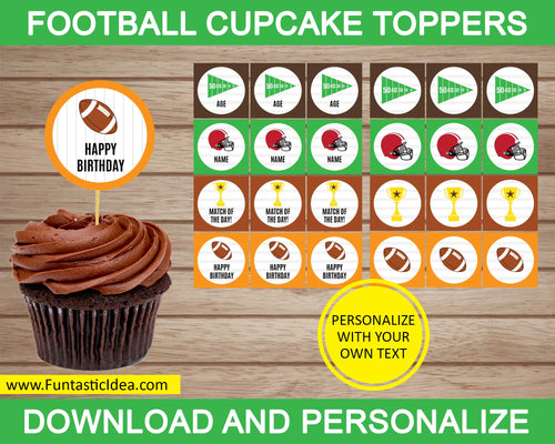 Football Party Cupcake Toppers