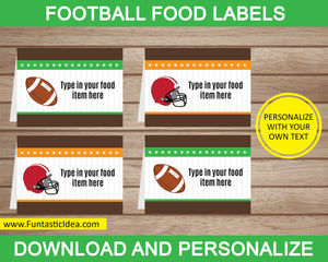 Football Party Food Labels