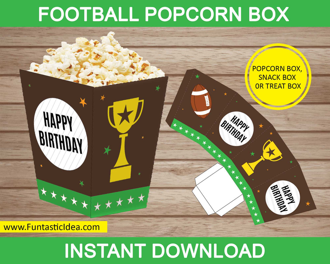 Football Party Popcorn Box