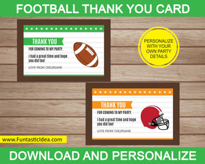 Football Party Thank You Card