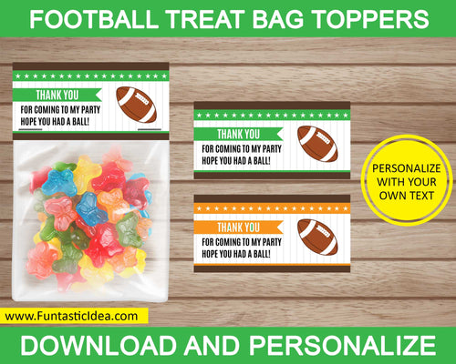 Football Party Treat Bag Toppers