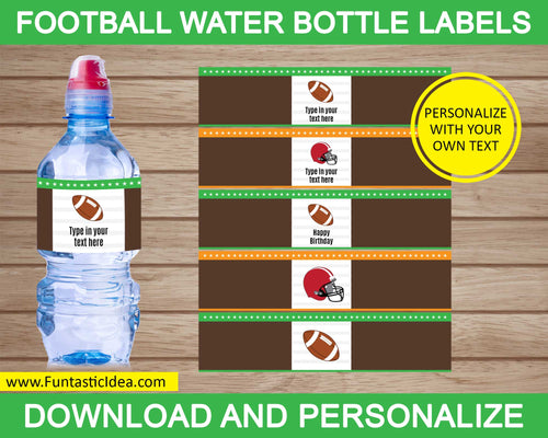 Football Party Water Bottle Labels