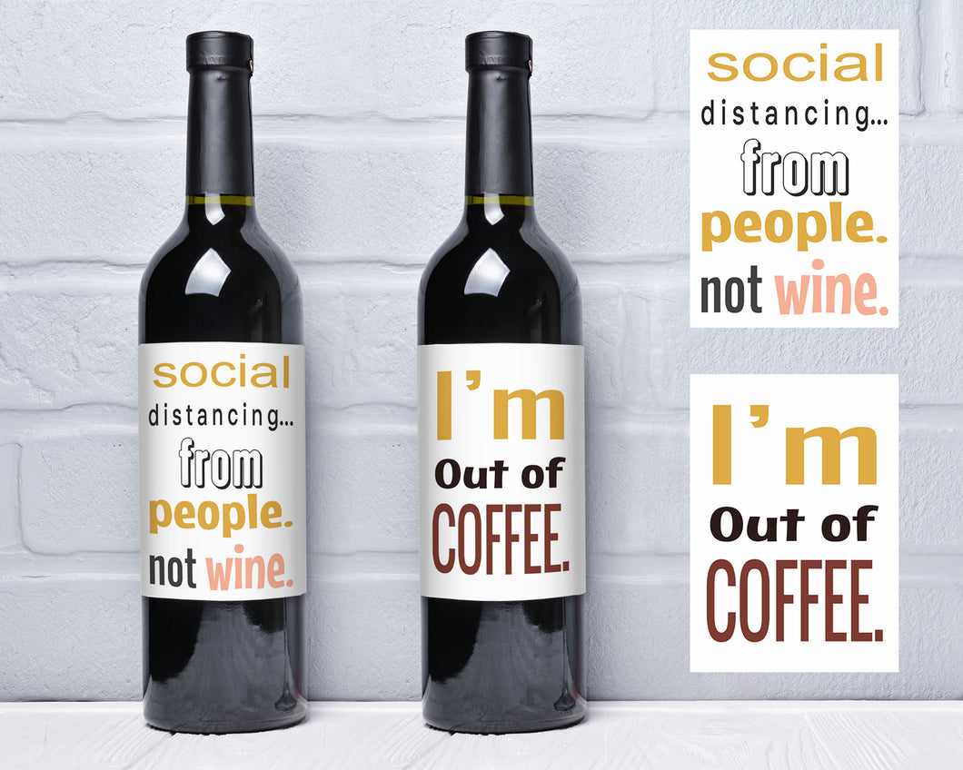 Funny Social Distancing Wine Labels