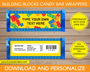 Building Blocks Party Candy Bar Wrappers