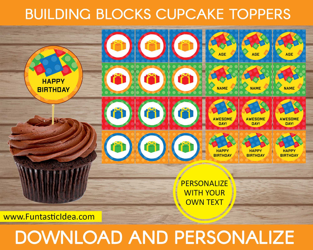 Building Blocks Party Cupcake Toppers