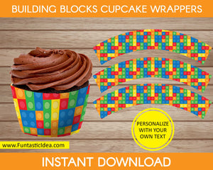 Building Blocks Party Cupcake Wrappers