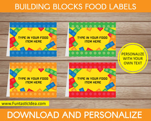 Building Blocks Party Food Labels
