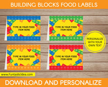 Load image into Gallery viewer, Building Blocks Party Food Labels