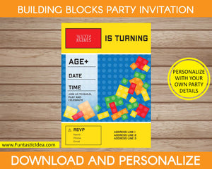 Building Blocks Party Invitation - Blue