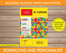 Load image into Gallery viewer, Building Blocks Party Invitation