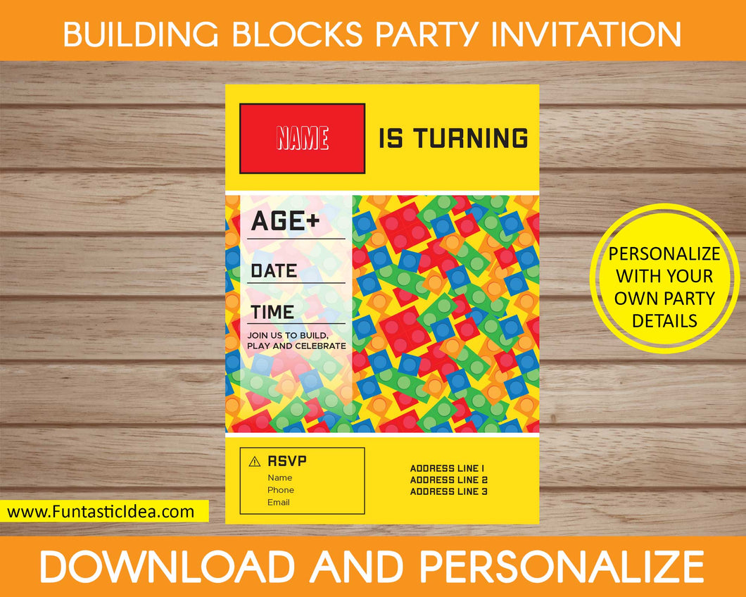 Building Blocks Party Invitation