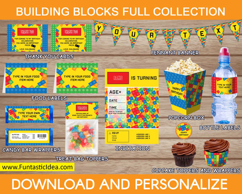 Building Blocks Party Invitation and Decorations