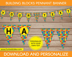 Building Blocks Party Pennant Banner