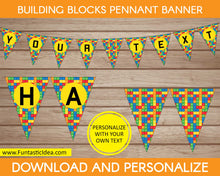 Load image into Gallery viewer, Building Blocks Party Pennant Banner