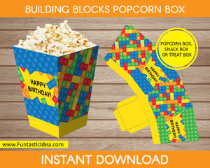 Building Blocks Party Popcorn Box