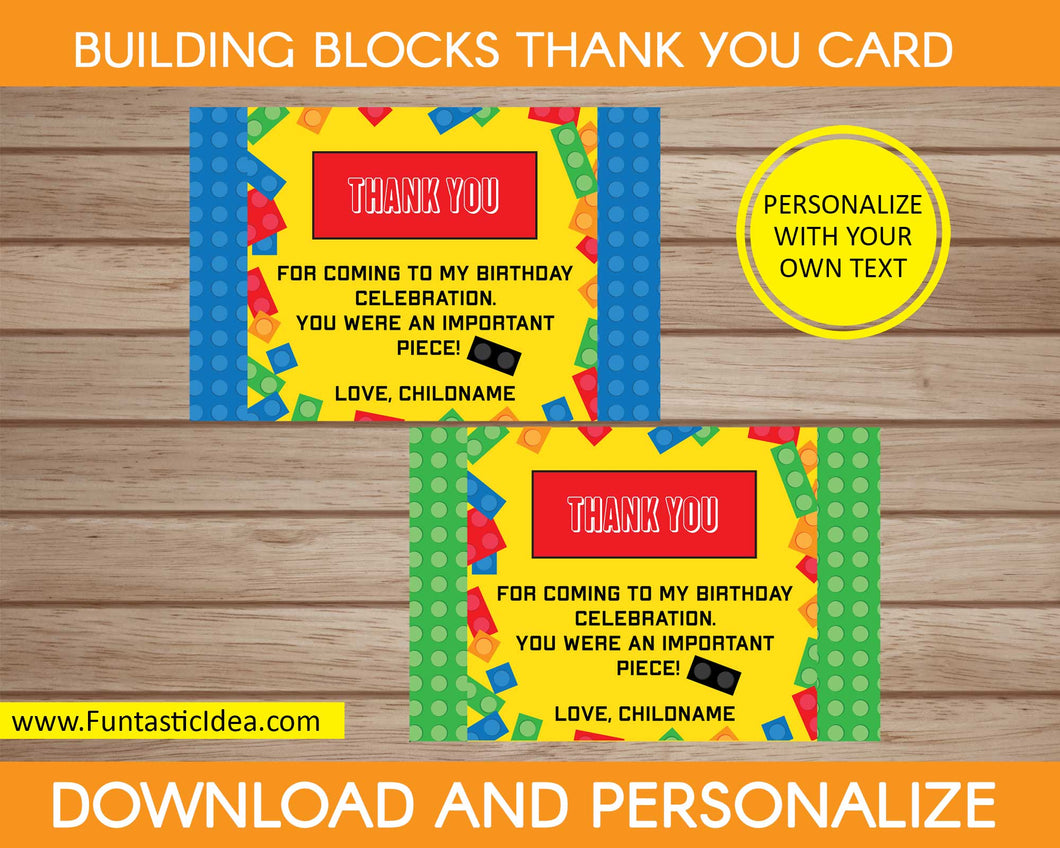 Building Blocks Party Thank You Card