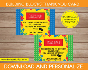Building Blocks Party Thank You Cards