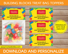 Load image into Gallery viewer, Building Blocks Party Treat Bag Toppers
