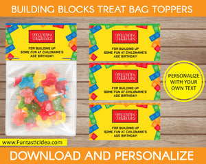Building Blocks Party Treat Bag Toppers