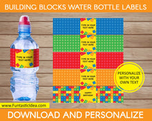Load image into Gallery viewer, Building Blocks Party Water Bottle Labels