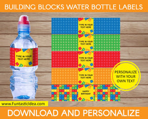 Building Blocks Party Water Bottle Labels