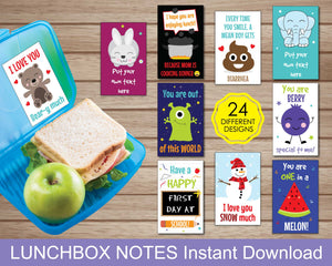 Lunchbox Notes for Kids, Lunchbox Cards for Kids