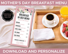 Load image into Gallery viewer, Mothers Day Breakfast in Bed Menu