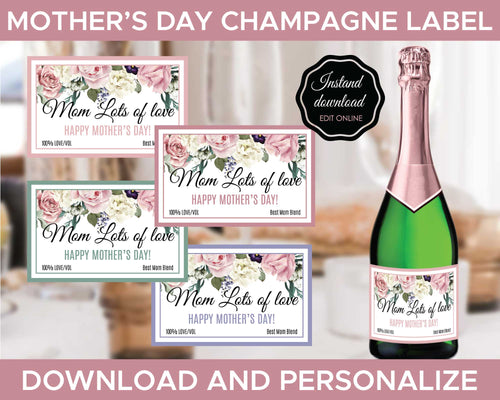 Mother day Champagne Labels