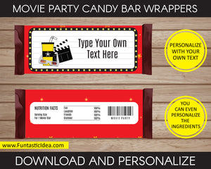 Movie Party Candy Bar Wrappers