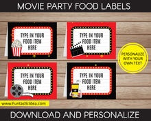 Load image into Gallery viewer, Movie Party Food Labels