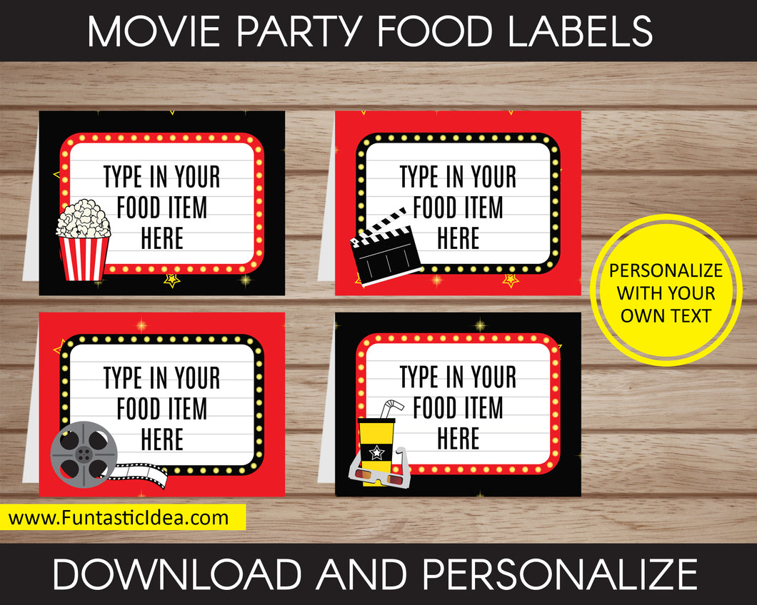 Movie Party Food Labels