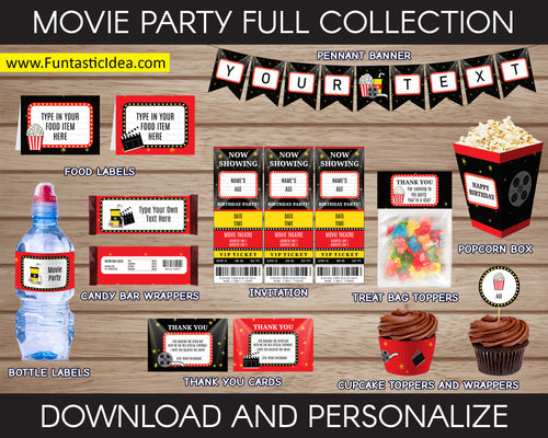 Movie Party Invitation and Decorations
