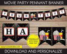 Load image into Gallery viewer, Movie Party Pennant Banner