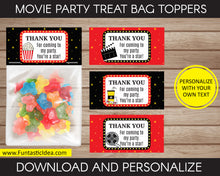 Load image into Gallery viewer, Movie Party Treat Bag Toppers