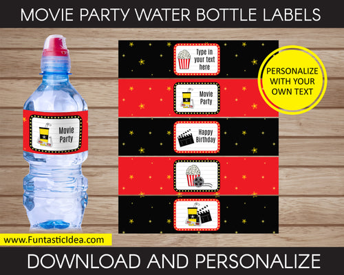 Movie Party Water Bottle Labels