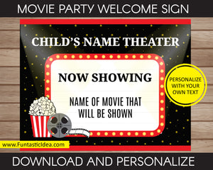 Movie Party Welcome Sign or Game Sign