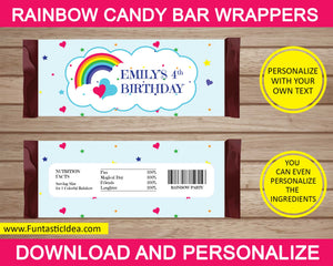 Rainbow Party Candy Bar Wrappers