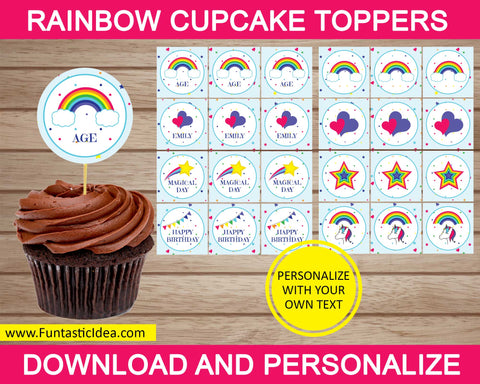 Rainbow Party Cupcake Toppers